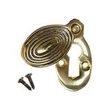 Keyhole Cover Escutcheon - Aged Brass Reeded Oval (single) (VDK-25)