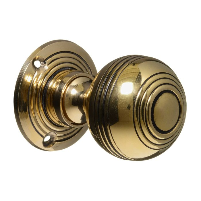Georgian Door Knobs - Brass Reeded (pair) (VDK-9)