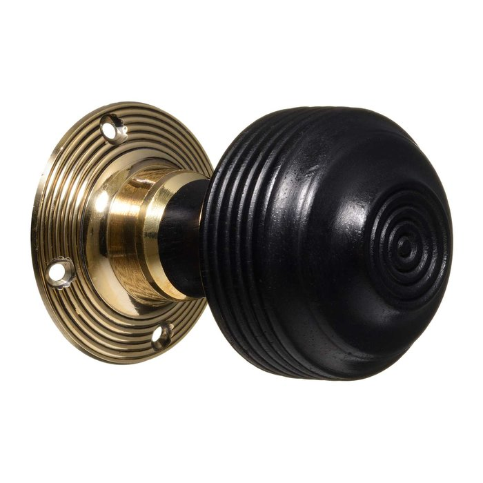 Georgian Door Knobs - Ebonised Reeded (pair) (VDK-4)