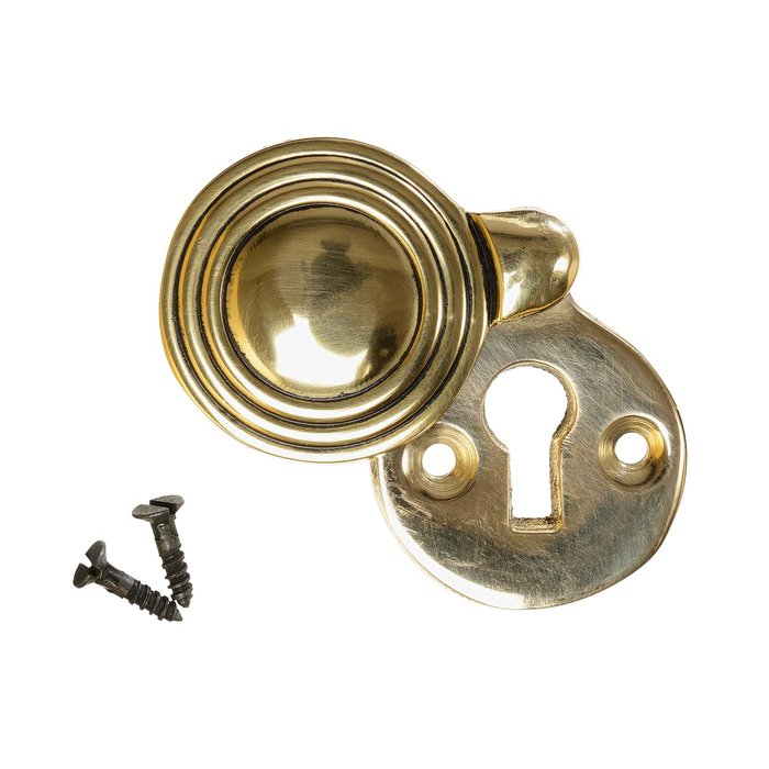 Keyhole Cover Escutcheon - Aged Brass Reeded Round (single) (VDK-26)
