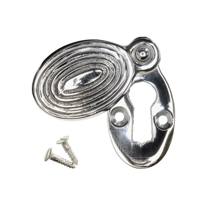 Keyhole Cover Escutcheon - Nickel Reeded Oval (single) (VDK-27)