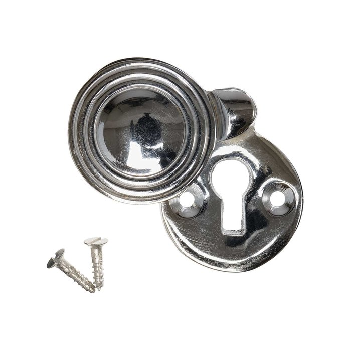 Keyhole Cover Escutcheon - Nickel Reeded Round (single) (VDK-28)