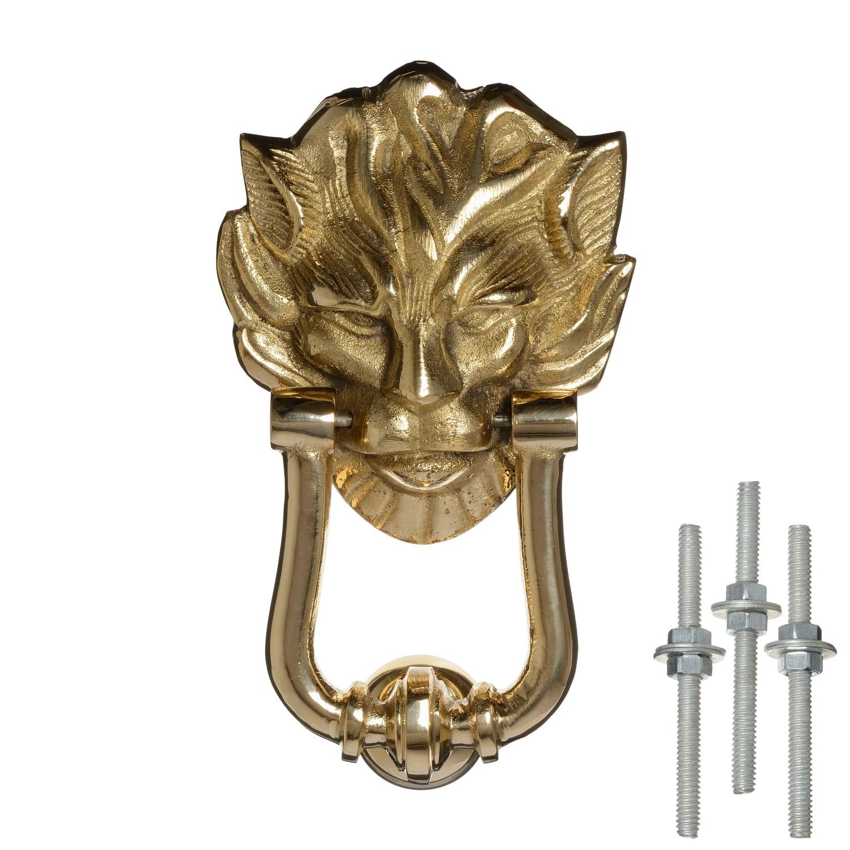 Solid Brass Lion Head Door Knocker Medium