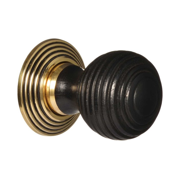 Victorian Cupboard Knob - Ebonised Beehive - Brass (single) (VDK-43)