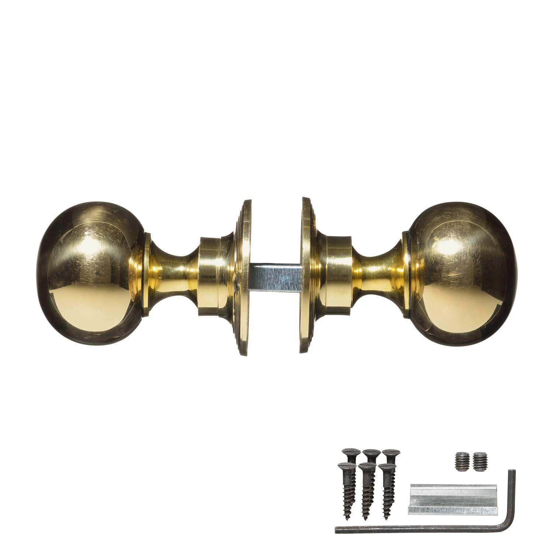 Victorian Door Handles Brass Plain Pair Vintage Door