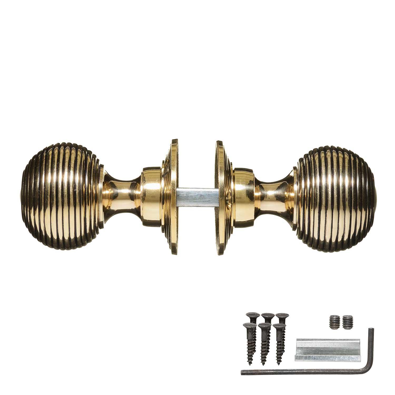 Victorian Door Knobs Brass Beehive Pair