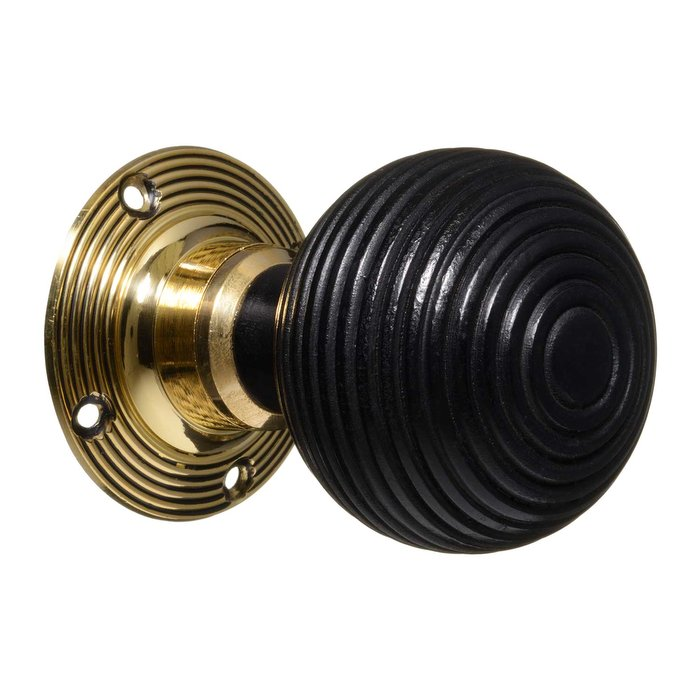 Victorian Door Knobs - Ebonised Beehive - Brass (pair) (VDK-5)