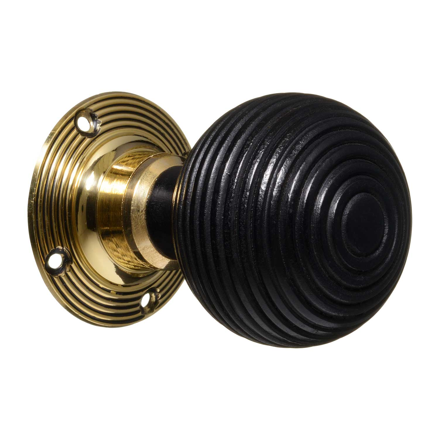 Victorian Door Knobs Ebonised Beehive Brass Pair