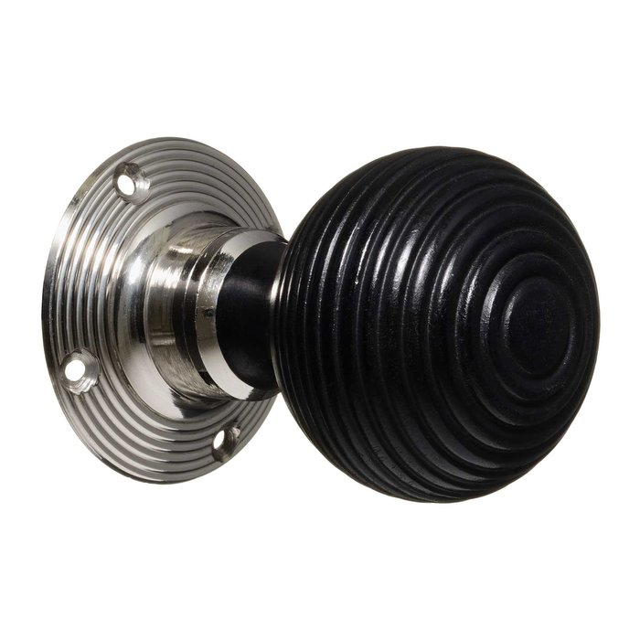 Victorian Door Knobs - Ebonised Beehive - Nickel (pair) (VDK-6)