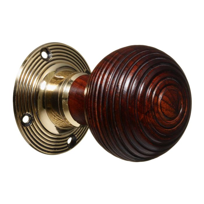 Victorian Door Knobs - Hardwood Beehive - Brass (pair) (VDK-7)