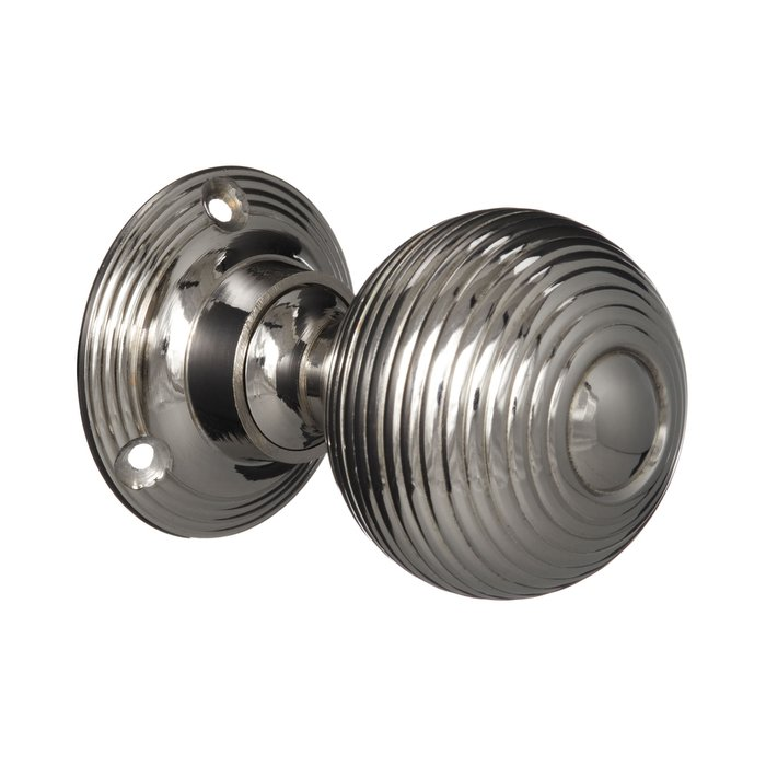 Victorian Door Knobs - Nickel Beehive - Large (pair) (VDK-13)